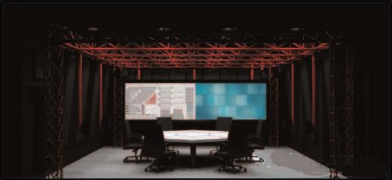 """图5 """"黑盒剧场""""风格效果图 有了实验室声学设计基本思路后,在室内设计方面,采用了起源于上世纪60-70年代的""""黑盒剧场""""风格。黑色的墙、顶饰面融合红色的桁架结构,产生强烈的色彩对比。根据不同的教学需求,设定相应的朴素、简洁的灯光模式,从功能和色彩上达到设计要求。 设备系统设计 —超前的设计理念和手段,为""""升级""""预留空间"""